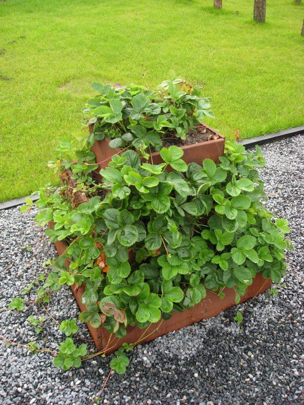 en pyramide af plantekasser fra Land med rusten overflade