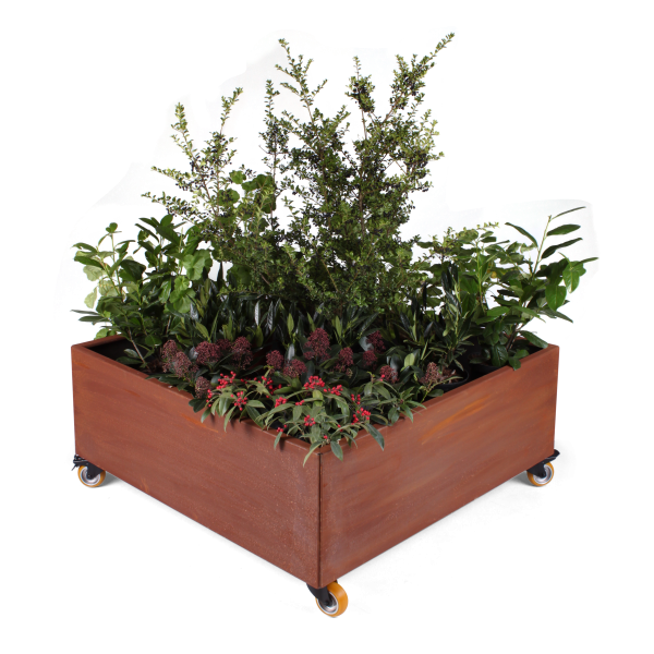 Land Modern 120 x 120 cm plantekumme i Corten med hjul
