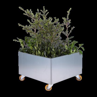 Land Modern 80 x 80 cm plantekumme med hjul, galvaniseret