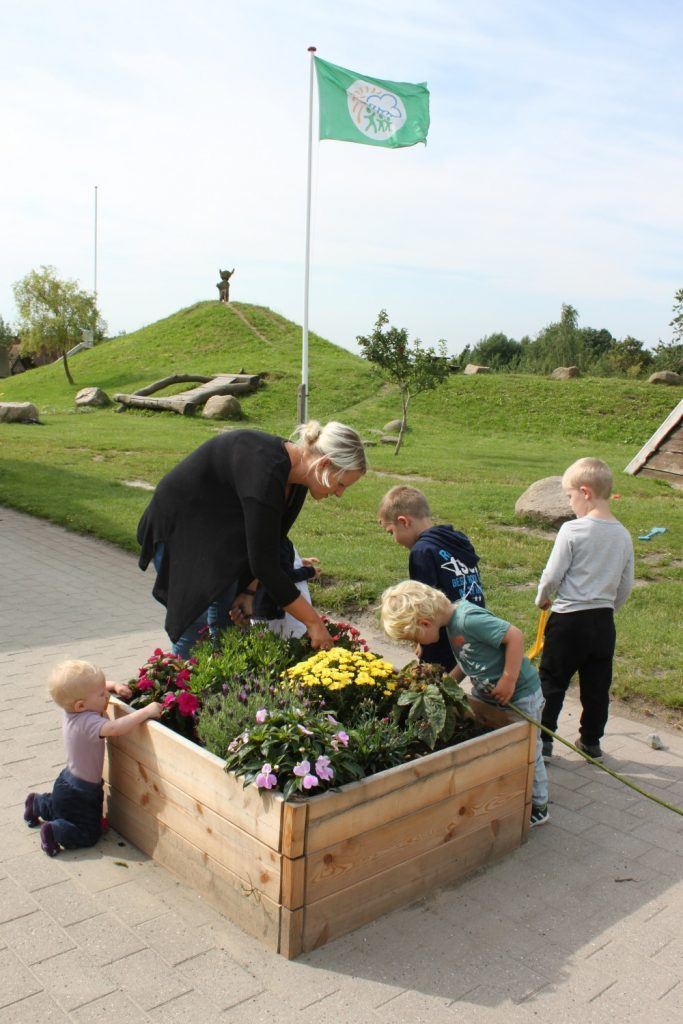 Børnene passer blomsterne i højbedet