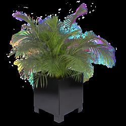 Blomsterkumme til ude og inde 60x60x60 cm med 10 cm høje ben i RAL 9005 Dybsort fra Land Højbede