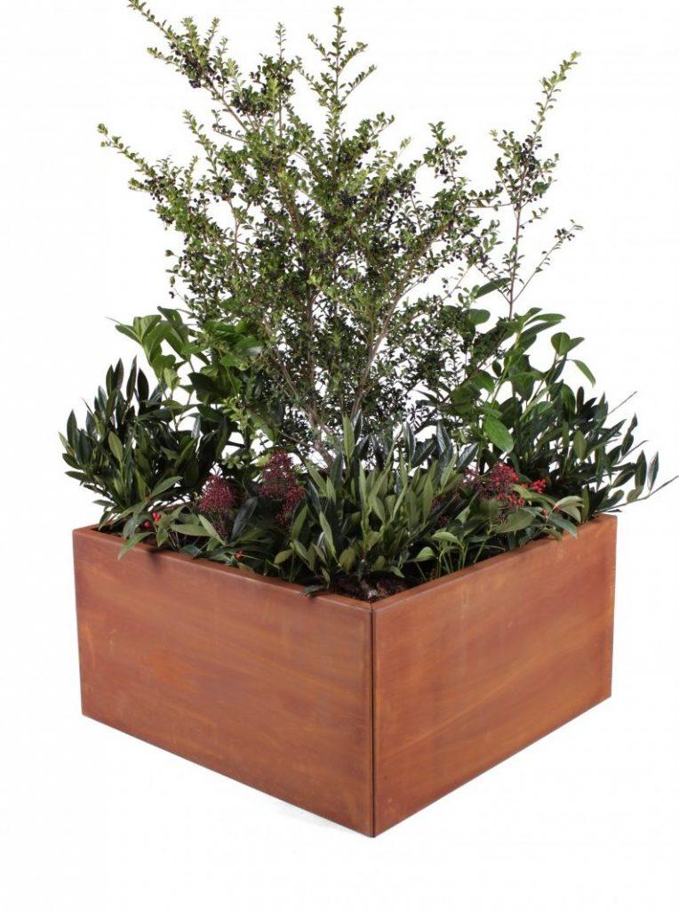 Plantekume i Cortenstål rust 60x60cm