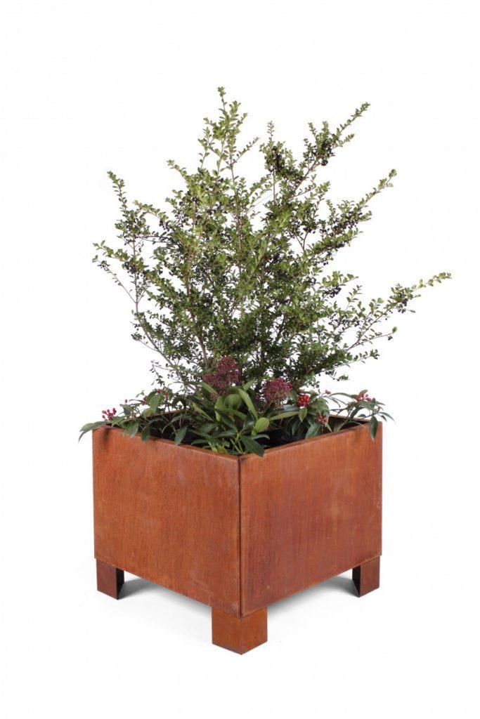 Cortenstål plantekumme på ben 60x60cm-with-feet