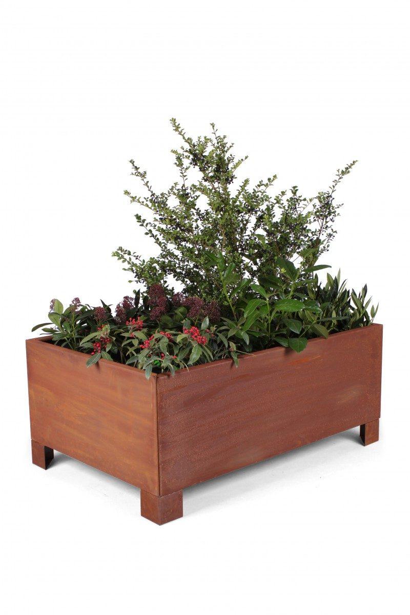 plantekasse ekstra kraftig corten jern 80x120cm with feet land h jbede. Black Bedroom Furniture Sets. Home Design Ideas