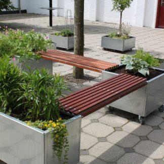 Bænk til Land Modern plantekasser, med lister i mahogni