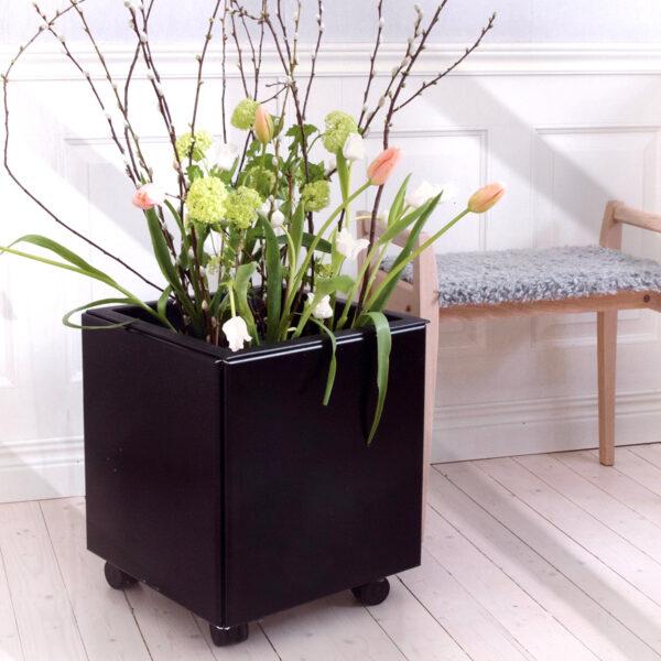 Land Black plantekasse med hjul indendørs med tulipaner og grene, foto: KillingYourDarlings