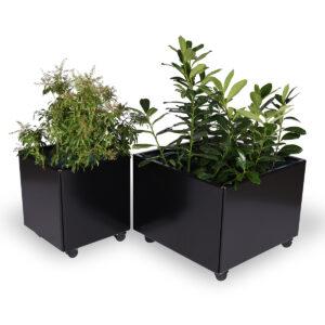 Land Black mobile plantekasser 40 x 40 og 60 x 60 cm med sorte hjul fra Land Højbede