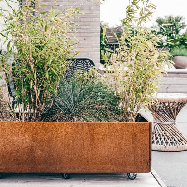Land Classic plantekasse med hjul fra Land Højbede 40x120 cm i rust med bambus og græsser på terrassen. Foto Tania Nørgaard