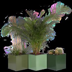 Plantekummer 40x40x40 cm fra Land Højbede med drypfri vandingsindsatser - fra venstre RAL 6003 Oliven grøn, RAL 6011 Reseda grøn og RAL 6020 Chrome grøn