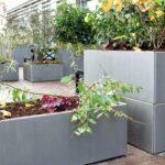 Land Modern – Aflang plantekasse – Højgalvaniseret og Cortenstål