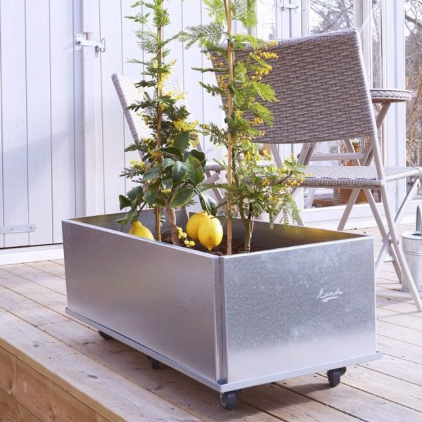 Land Classic plantekasse på hjul i galvaniseret jern 40 x 80 cm